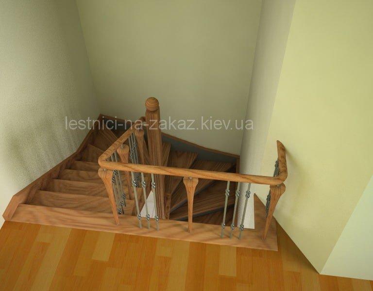 Чертежи и схемы забежной лестницы из сосны