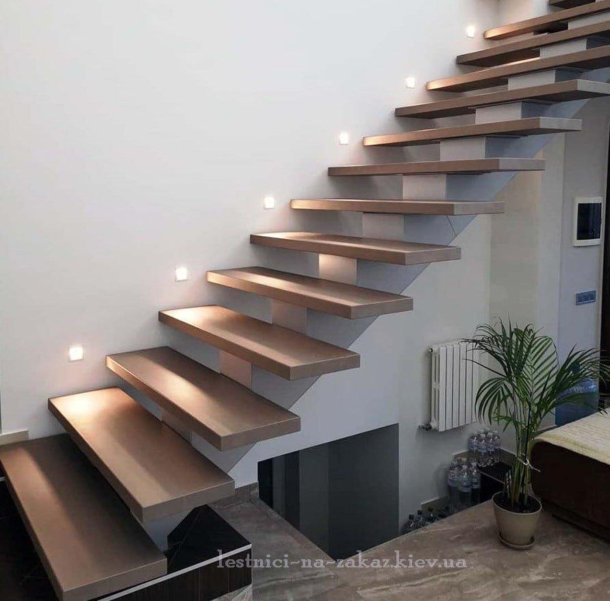 консольная лестница из дуба